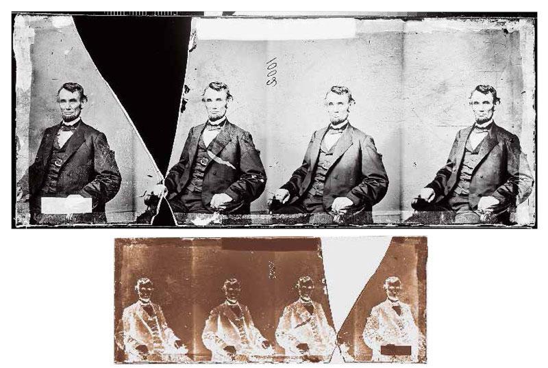 上图:美国总统林肯肖像的玻璃湿版转成正像。;下图:1864 年2月9日摄影 师 安 东 尼· 伯berger)利用玻璃湿版拍摄的林肯肖像原版。