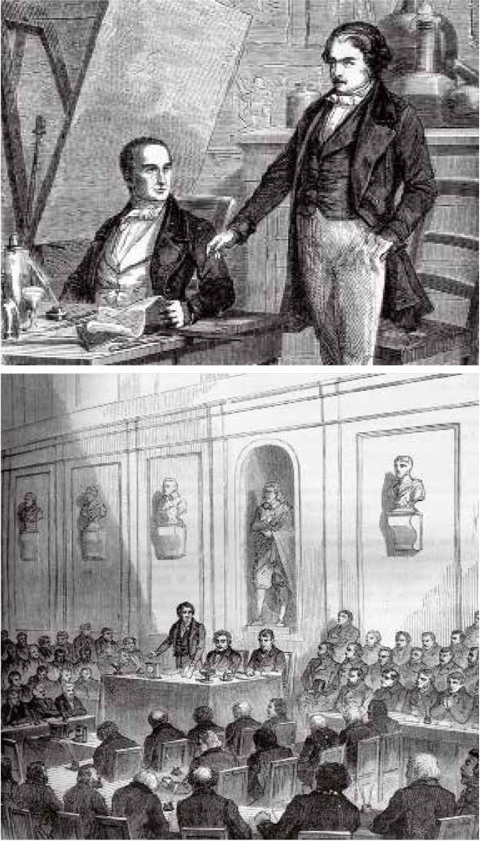 上图:1829年12月,达盖尔前往沙隆的尼埃普斯庄园,两人签订了摄影研发合同。;下图:1839年8月19日,阿拉贡(主席台站立者)带着达盖尔(主席台中间坐者)参加了法兰西科学院与艺术院的联席会议