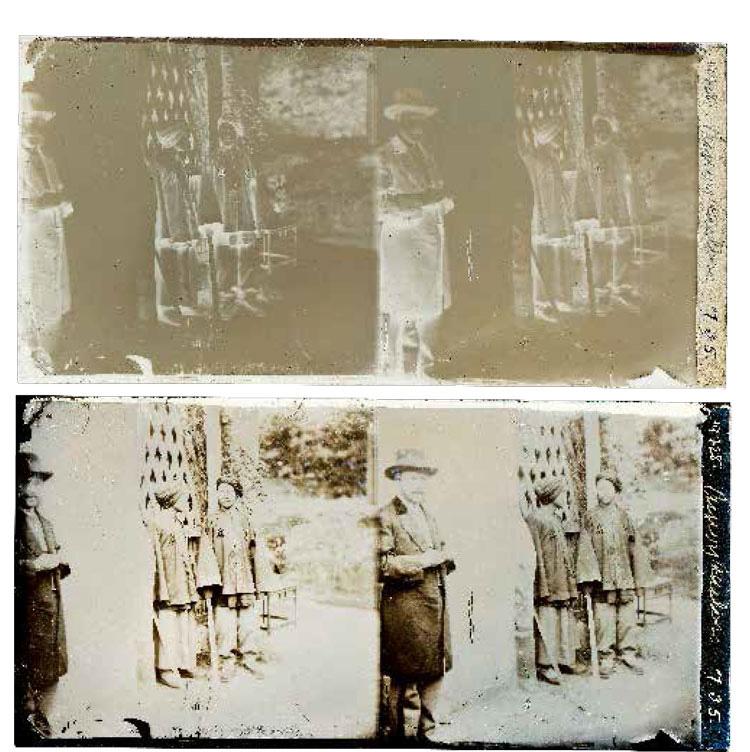 上图:这是英国人约翰·汤姆逊(John Thomson)于1871年在中国厦门用玻璃湿版自拍的照片原版《汤姆逊和两个清兵》;下图:《汤姆逊和两个清兵》的玻璃湿版负像转换成正像