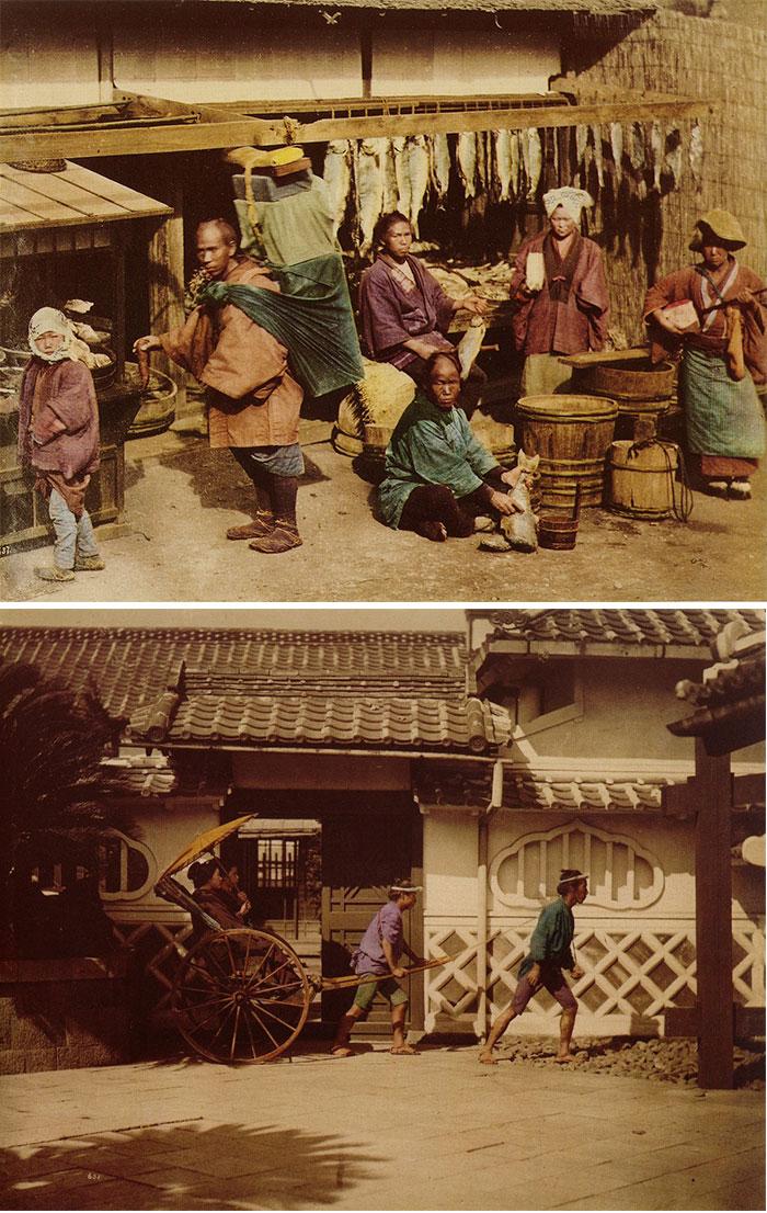上图:意大利人费利斯(Felice Beato)在日本拍摄并制作的手工上色照片;下图:费利斯·贝亚在日本拍摄并制作的手工上色照片